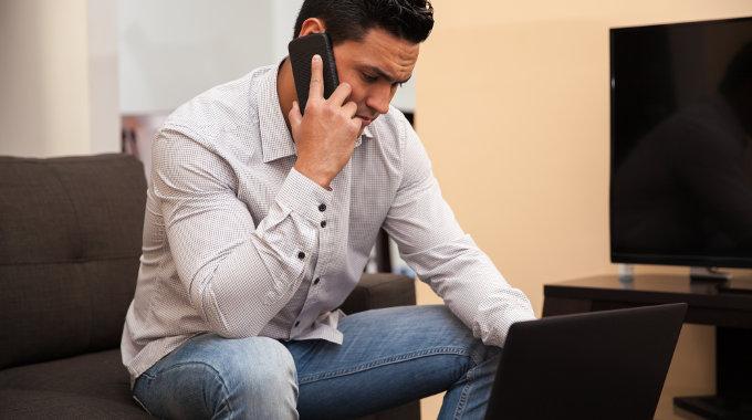 Busy entrepreneur on the phone